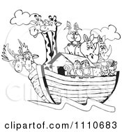 Clipart Black And White Giraffes Birds Rhinos Sheep And Monkeys On Noahs Ark Royalty Free Vector Illustration