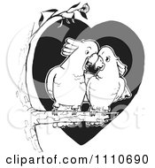 Clipart Black And White Cockatoo Couple Cuddling In A Tree Royalty Free Vector Illustration
