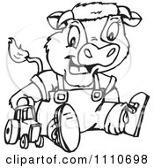 Clipart Black And White Baby Cow Playing With A Tractor Toy Royalty Free Vector Illustration