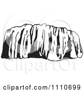 Clipart Black And White Ayers Rock Or Uluru In Australia Royalty Free Vector Illustration by Dennis Holmes Designs