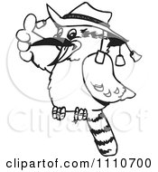 Clipart Black And White Aussie Kookaburra Wearing A Hat And Holding A Thumb Up Royalty Free Vector Illustration by Dennis Holmes Designs