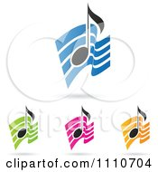 Clipart Music Notes Over Colorful Waves Royalty Free Vector Illustration