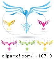 Clipart Colorful Eagles With Spread Wings Royalty Free Vector Illustration by cidepix