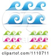 Clipart Colorful Sea Wave Borders Royalty Free Vector Illustration