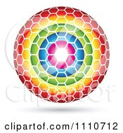 Clipart Sphere Made Of Colorful Rings And A Hexagon Pattern Royalty Free Vector Illustration