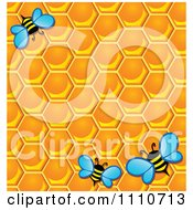 Clipart Background Of Worker Bees With Honey Combs Royalty Free Vector Illustration by visekart