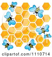 Clipart Worker Bees With Honey Combs Royalty Free Vector Illustration by visekart