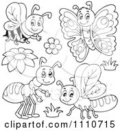 Clipart Outlined Bee Butterfly Ant And Dragonfly Royalty Free Vector Illustration by visekart
