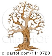 Clipart Sketched Hollow Bare Tree Royalty Free Vector Illustration