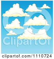 Clipart Puffy Cloud Sky Background Royalty Free Vector Illustration