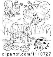 Clipart Outlined Bee Butterfly Caterpillar And Ladybug Royalty Free Vector Illustration by visekart