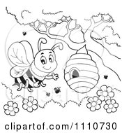 Outlined Bee Waving By A Hive