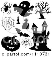 Clipart Black And White Halloween Design Element Items Royalty Free Vector Illustration by visekart