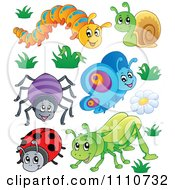 Clipart Caterpillar Snail Spider Butterfly Ladybug And Grasshopper Royalty Free Vector Illustration by visekart