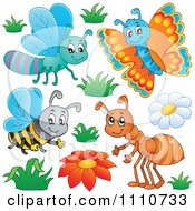 Clipart Dragonfly Butterfly Bee And Ant Royalty Free Vector Illustration by visekart