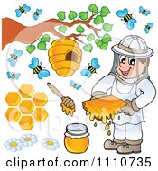 Clipart Bee Keeper With Honey Combs Jar Stick Hive And Bees Royalty Free Vector Illustration by visekart