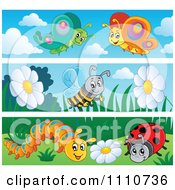 Clipart Butterfly Bee Caterpillar And Ladybug Banners Royalty Free Vector Illustration