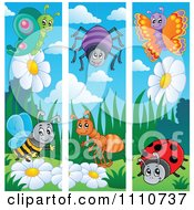 Clipart Butterfly Bee Spider Ant And Ladybug Banners Royalty Free Vector Illustration