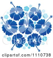 Clipart Blue Tropical Hibiscus Flowers Royalty Free Vector Illustration