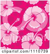 Seamless Pink Hibiscus Flower Background Pattern