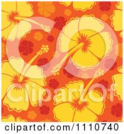 Clipart Seamless Yellow And Orange Hibiscus Flower Background Pattern Royalty Free Vector Illustration