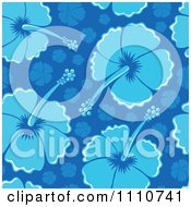 Clipart Seamless Blue Hibiscus Flower Background Pattern Royalty Free Vector Illustration