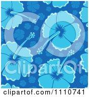 Seamless Blue Hibiscus Flower Background Pattern