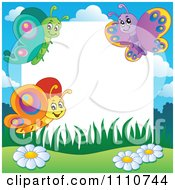 Clipart Blank Copyspace Bordered With Butterflies Royalty Free Vector Illustration