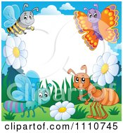 Clipart Blank Copyspace Bordered With A Bee Butterfly Dragonfly And Ant Royalty Free Vector Illustration