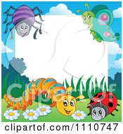 Clipart Blank Copyspace Bordered With A Spider Butterfly Caterpillar And Ladybug Royalty Free Vector Illustration by visekart