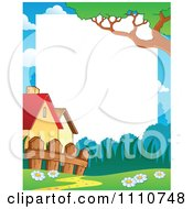 Clipart Blank Copyspace Bordered With Houses A Fence And Trail Royalty Free Vector Illustration