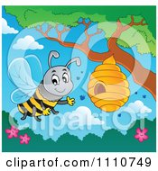 Clipart Friendly Bee Waving By A Hive On A Tree Royalty Free Vector Illustration by visekart