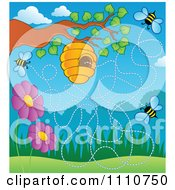 Clipart Hive On A Tree With Flowers And Bees Royalty Free Vector Illustration by visekart