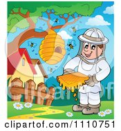 Clipart Happy Beekeeper Holding Honey By A Hive On A Tree Royalty Free Vector Illustration by visekart