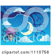 Clipart Happy Spider By His Web On A Bare Tree Against A Crescent Moon With Bats In The Sky Royalty Free Vector Illustration by visekart