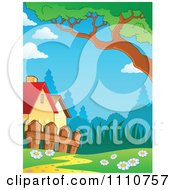 Clipart Houses With A Fence And Trail Royalty Free Vector Illustration