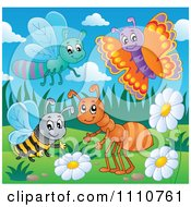 Clipart Happy Dragonfly Butterfly Bee And Ant With Flowers And Grass Royalty Free Vector Illustration by visekart
