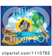 Clipart Booty Treasure Chest In A Tropical Cave And Ship In The Distance Royalty Free Vector Illustration