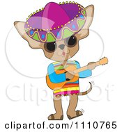Mexican Chihuahua Dog Wearing A Sombrero And Playing A Guitar