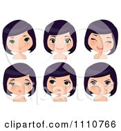 Clipart Black Haired Girl Shown With Different Expressions Royalty Free Vector Illustration