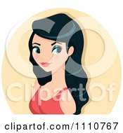 Clipart Gorgeous Asian Woman With Long Black Hair Over A Beige Circle Royalty Free Vector Illustration