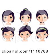 Clipart Black Haired Girl Shown With Different Hair Styles Royalty Free Vector Illustration