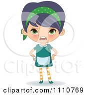 Clipart Angry Waitress Yelling Royalty Free Vector Illustration
