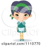 Clipart Sad Waitress Pouting Royalty Free Vector Illustration