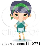 Clipart Waitress With Her Hands On Her Hips Royalty Free Vector Illustration