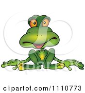 Clipart Relaxed Green Frog Royalty Free Vector Illustration by dero