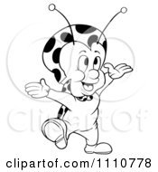 Clipart Outlined Happy Ladybug With Open Arms Royalty Free Vector Illustration by dero