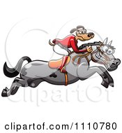 Clipart Equestrian Dog On A Leaping Horse Royalty Free Vector Illustration