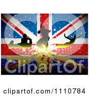 Clipart Silhouetted Athletes Over A British UK Union Jack Flag With Stars Royalty Free Vector Illustration by michaeltravers