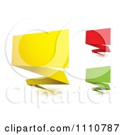 3d Yellow Red And Green Origami Banners